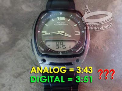 waktu analog tidak sinkron dengan waktu digital