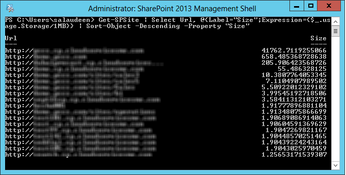 sharepoint powershell get site collection size