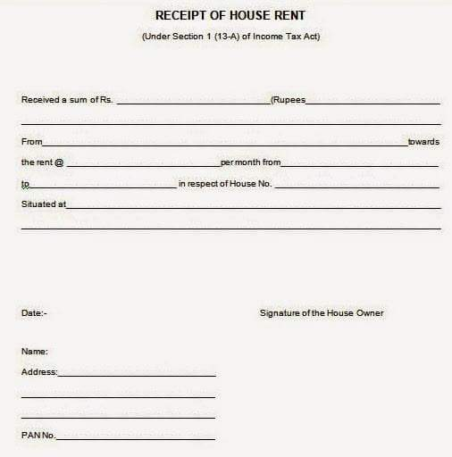 House Rent Allowance HRA receipt Format for income tax – Receipt of House Rent Format