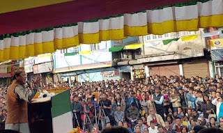 Bimal Gurung addressing people in Kurseong