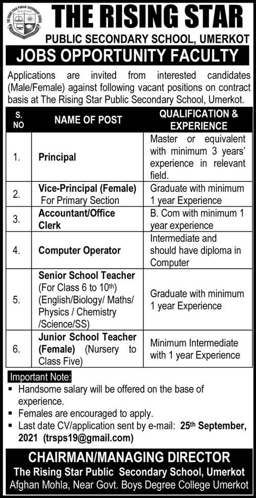 The Rising Star Public Secondary School Umerkot Sindh Jobs 2021