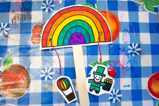 St. Patrick's Day Rainbow Paper Pull Craft for Preschoolers- Print out free printable, color, and then make this fun moveable paper craft with your kids!