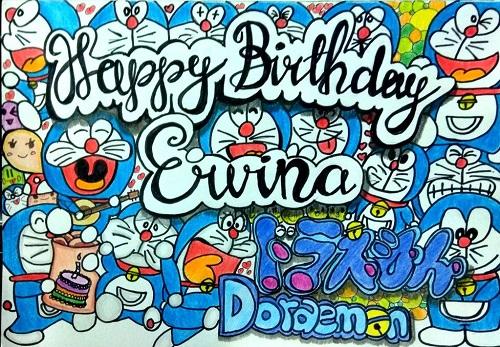 Gambar doodle doraemon dan nama