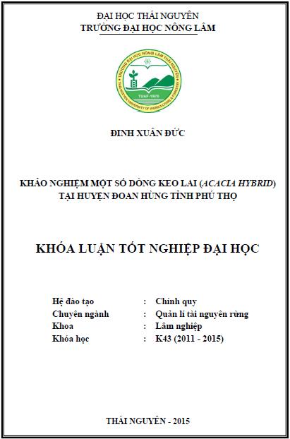 Khảo nghiệm một số dòng Keo lai (Acacia hybrid) tại huyện Đoan Hùng Tỉnh Phú Thọ