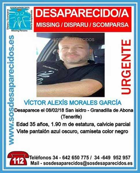 Encontrado muerto  Víctor Alexis Morales García, desaparecido Granadilla, Tenerife