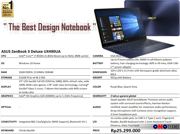 "THE BEST 10 NOTEBOOK ASUS 2017 "" ASUS ZENBOOK 3 DELUXE UX490UA """