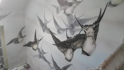 """Malowanie obrazu na ścianie """"Lecące Jaskółki"""" obraz do nowoczesnego wnętrza,mural w lofcie, grafitti 3D"""