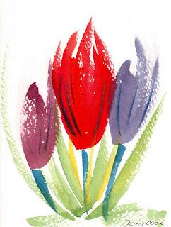 Watercolour painting of Tulips