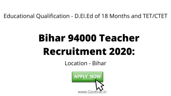 Bihar 94000 Teacher Recruitment 2020:  Request Bihar Primary teacher publications starting June 15, check eligibility, selection process and important dates