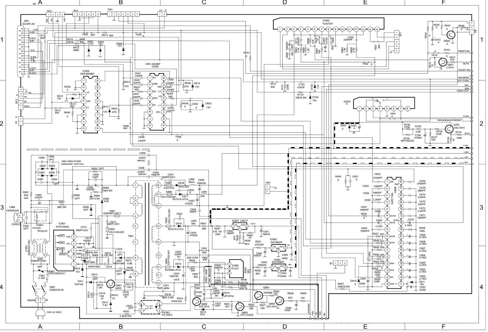 onida oxygen 29 – 29 inch crt tv circuit diagram (schematic)