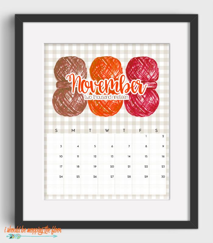 November Sewing Calendar