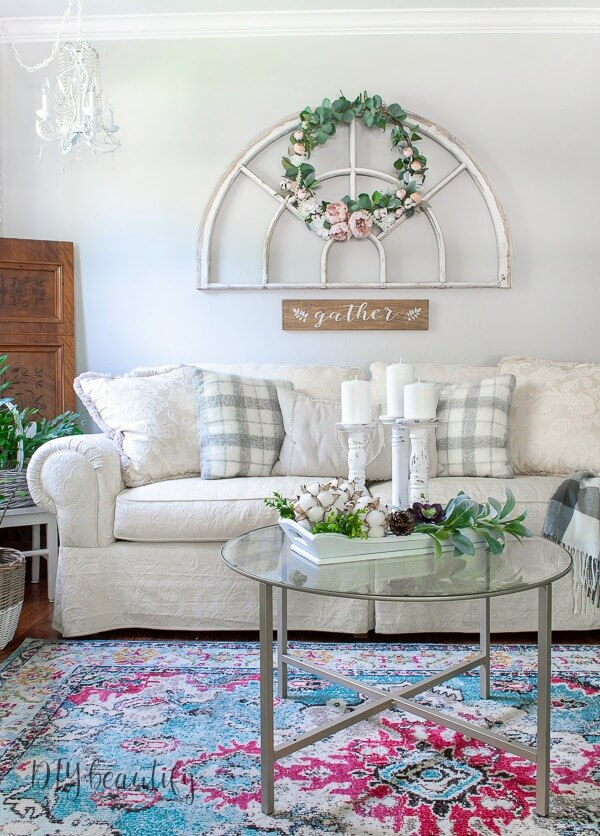 neutral sofa with farmhouse decor