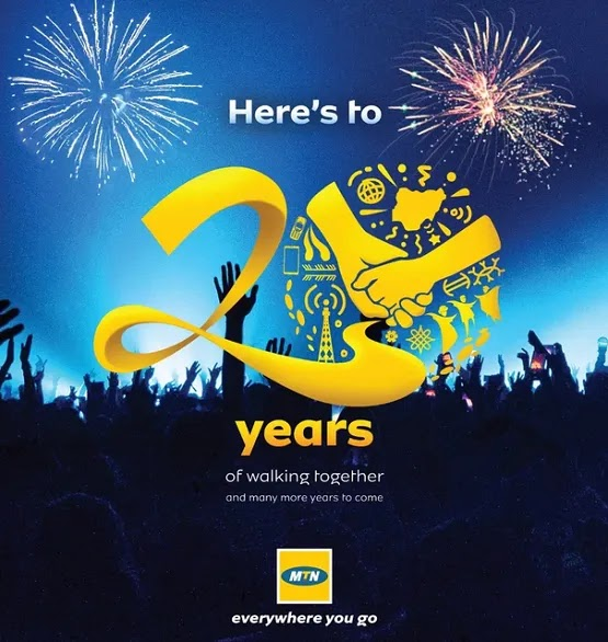 Enjoy Free 5 Minutes Calls, 200MB to All Subscribers on MTN 20th Anniversary Gift