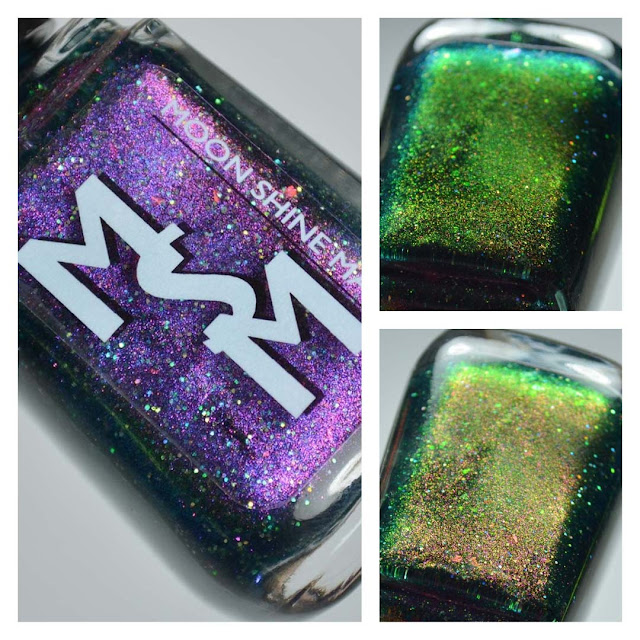 teal based multichrome nail polish in a bottle