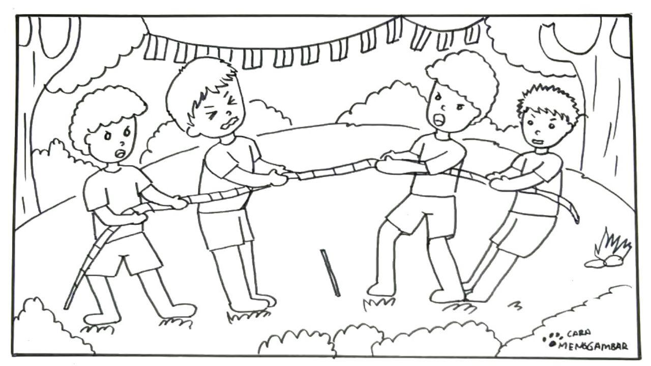 Mirzan Blog S 20 Ide Gambar Hitam Putih Kartun Hari Kemerdekaan Tarik Tambang