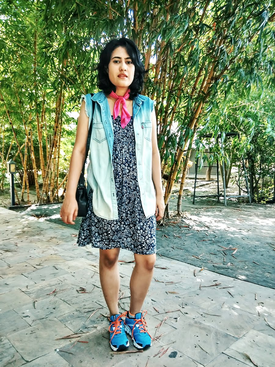 style panorama, blue dress,levi's frayed denim vest ,pink scarf, reebok hexalite shoes,indian fashion blogger