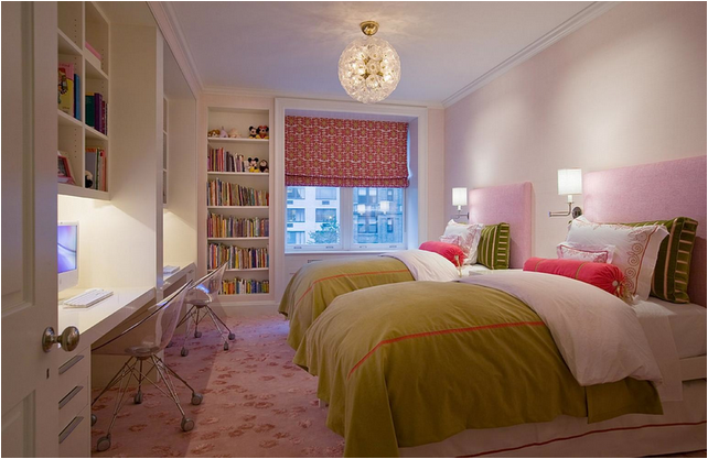 Decorating girls room with two twin beds room design ideas for Small bedroom ideas for two