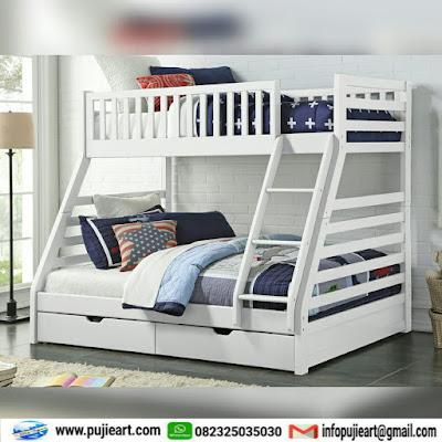 tempat tidur anak tingkat kayu jati elegan