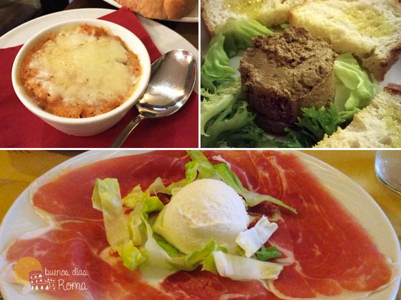 Restaurante L'Idillio Roma entrantes
