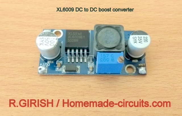 Illustration of XL6009 DC to DC boost converter