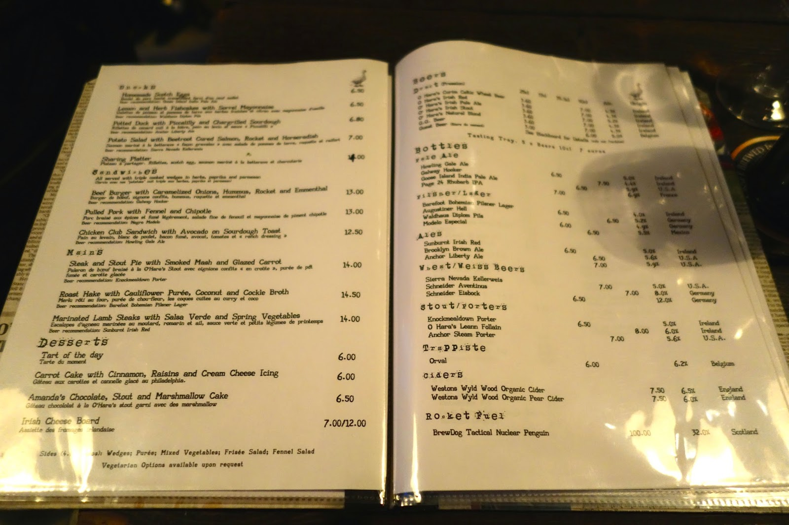 Irish Pub Paris Craft Beer Menu