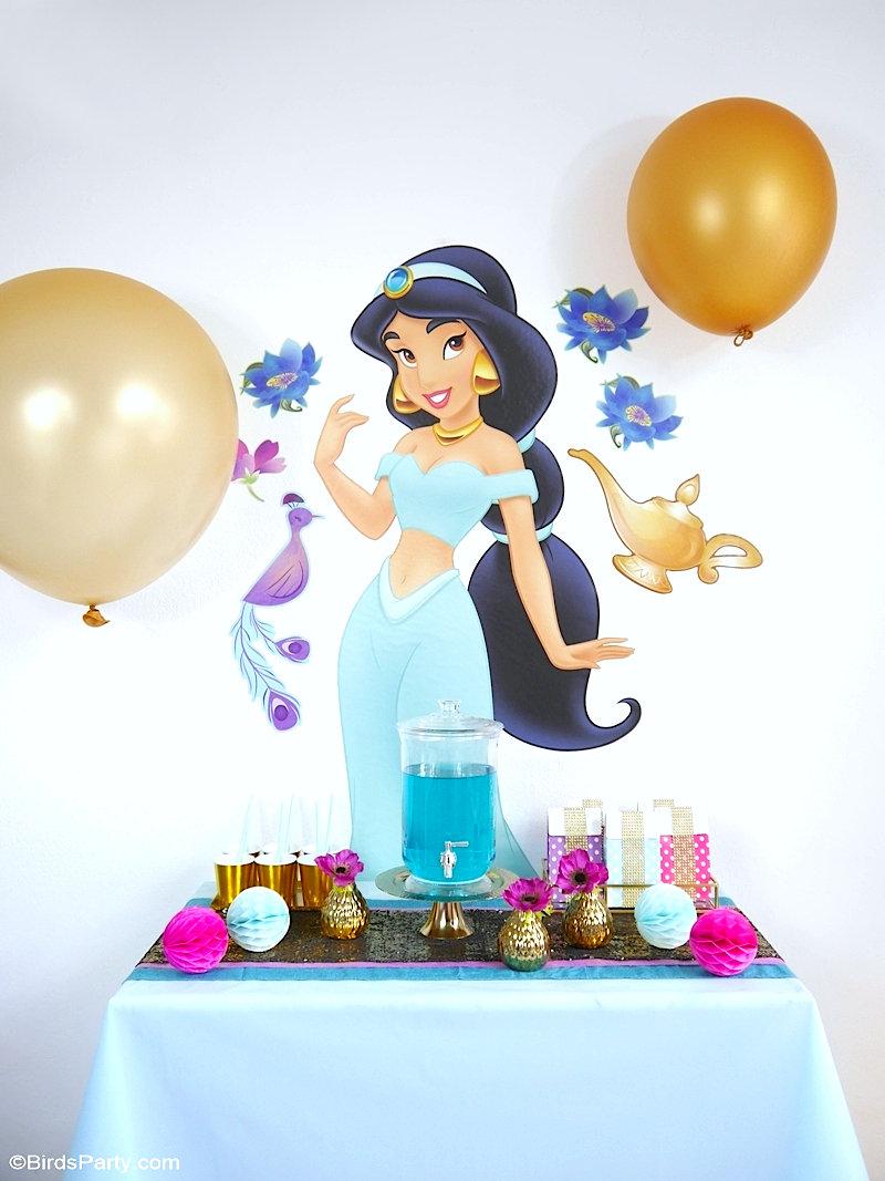 Fête d'Anniversaire Princesse Jasmine - idées de décoration DIY, menu de fête, papeterie imprimable et cadeaux d'invités pour un goûter Aladdin! by BirdsParty.com @birdsparty #aladdin #princessejasmine #anniversairealaddin #anniversaire #anniversaireprincesse #anniverssaireprincessjasmine