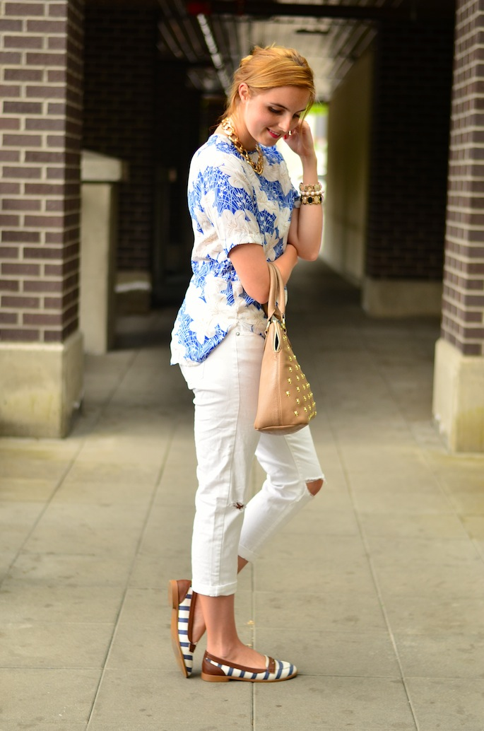 Tropical Floral Print blouse