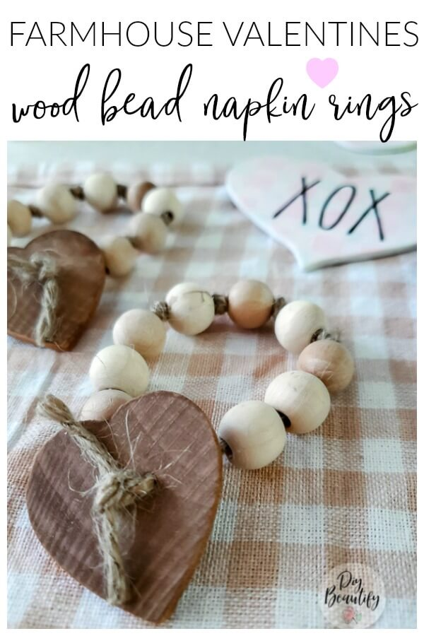Farmhouse Large Wood Bead Napkin Rings