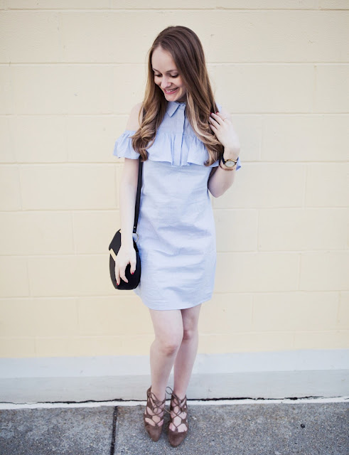 Blue-Ruffle-Cold-Shoulder-Dress