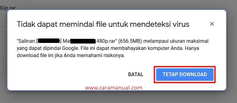 tidak dapat memindai file google drive