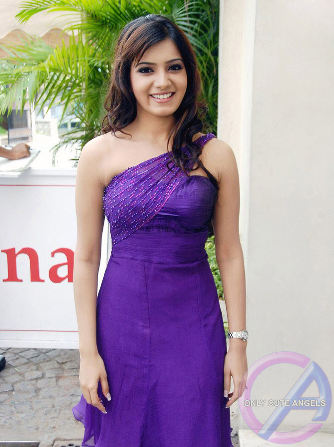 Actress Samantha In Purple Dress ~ Only Cute Angels