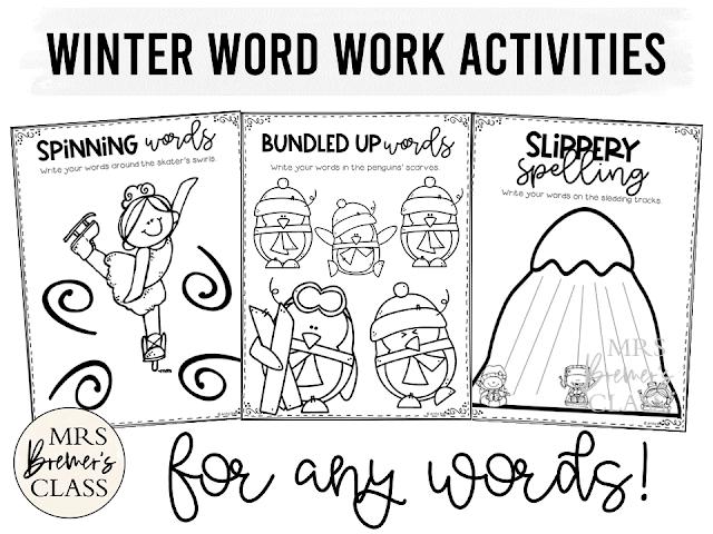 Winter themed spelling word work activities for ANY words in Kindergarten First Grade Second Grade Third Grade