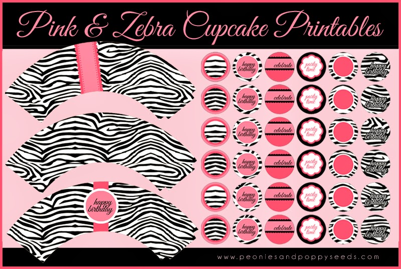 Pink and Zebra Cupcake Free Printables.