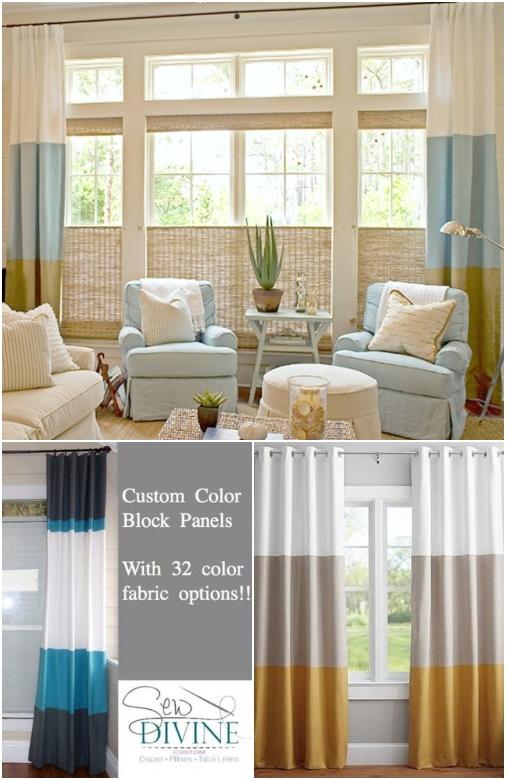 Color Block Curtains Blue White Beige