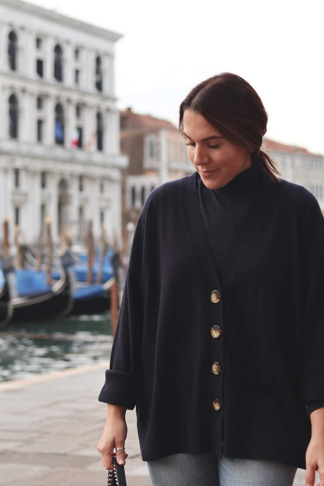 cashmere cardigan travel outfit venice italy vancouver blogger aleesha harris chanel paris dallas boy bag