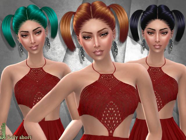 Женские прически с хвостами для The Sims 4 со ссылками на скачивание