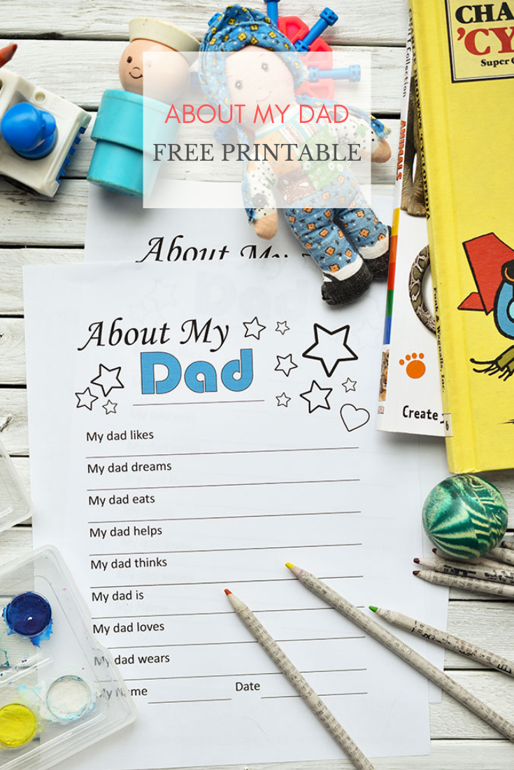 About My Dad Free Father's Day Printable Keepsake Worksheet