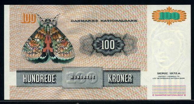 World money 100 Danish kroner banknote bill