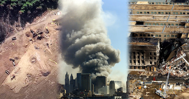 A collage of the wreckage at Shanksville, a skyline view of the smoke rising from Ground Zero, and the wreckage at the Pentagon.