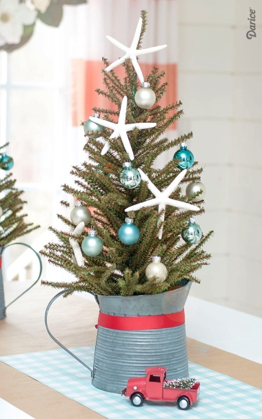 Coastal Mini Christmas Tree in Bucket