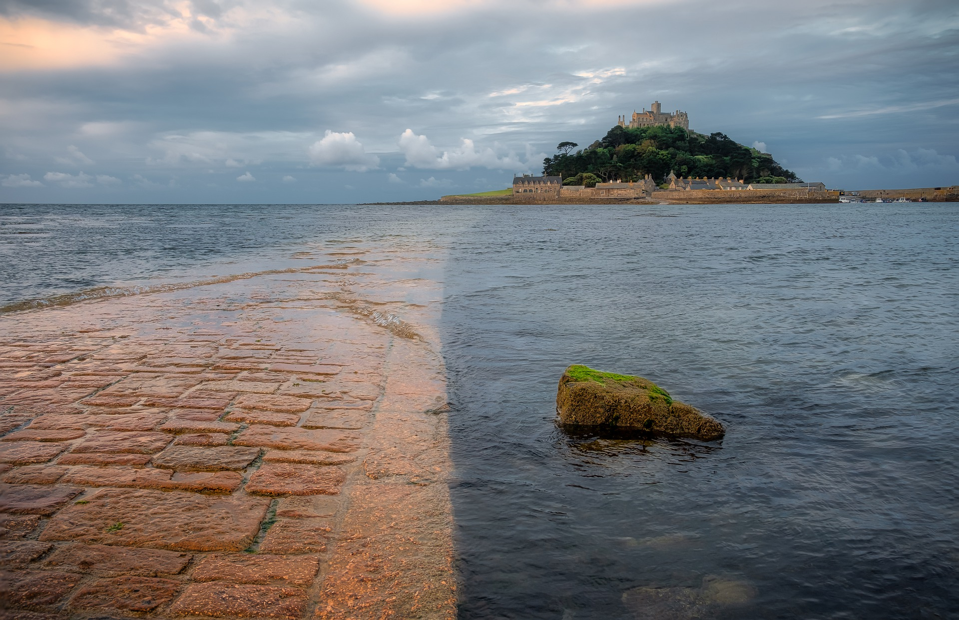 stone path to st michaels mountain during low tide