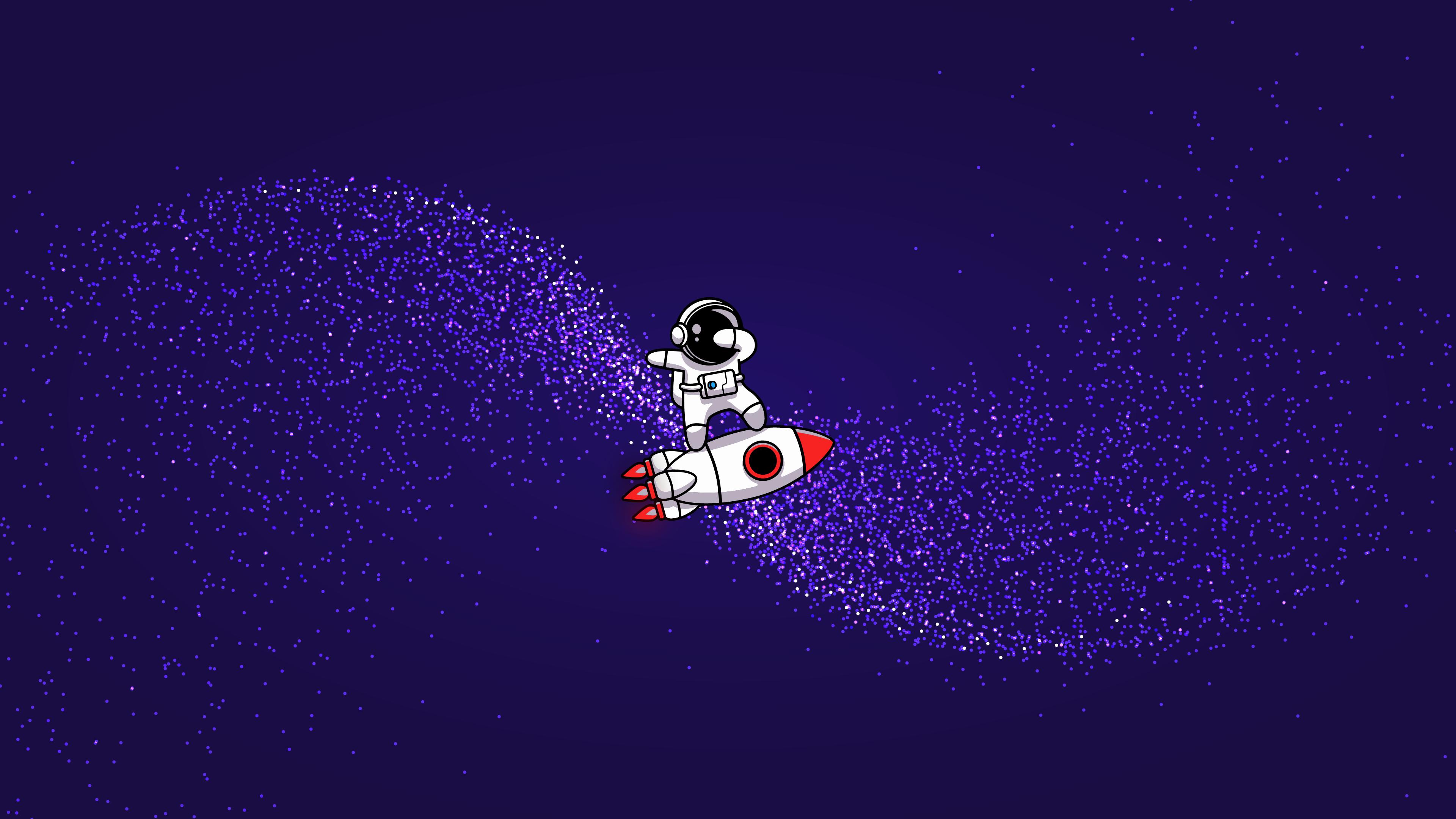 cute astronaut 4k desktop wallpaper