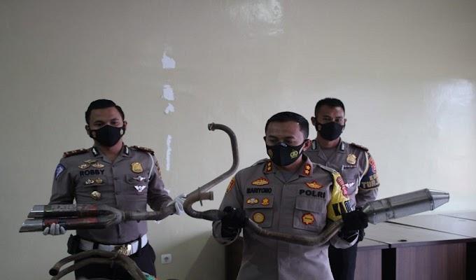 Jaga Kamtibmas dan Tegakkan UU Lalin, 334 Knalpot Racing Berhasil Disita Jajaran Satlantas Polres Serang