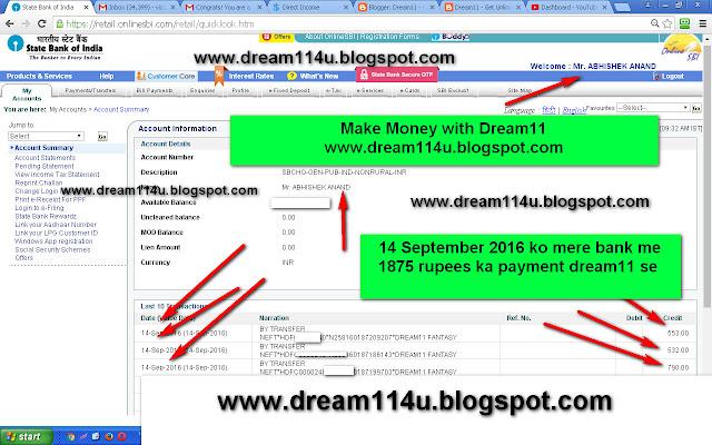 14 September 2016 ko Dream11 fantasy se mere bank account me 1875 rupees ka payment kiya gaya hai-see screenshot