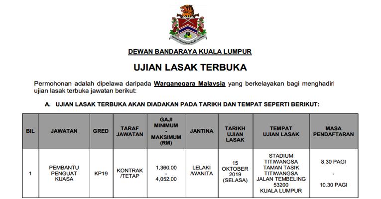 Ujian Lasak Terbuka Jawatan Pembantu Penguat Kuasa KP19 Dewan Bandaraya Kuala Lumpur DBKL
