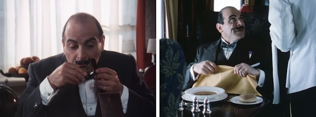 David Suchet as the fussy and fastidious Belgian detective Hercule Poirot in Agatha Christie Poirot