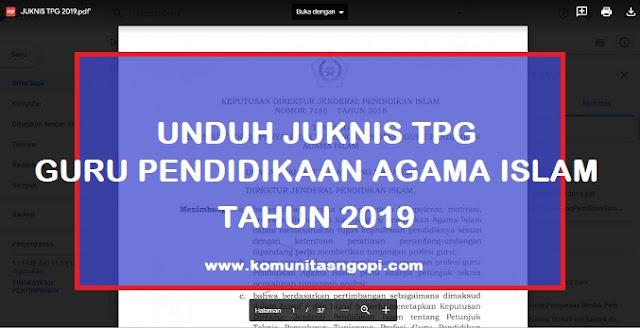 Unduh Juknis TPG PAI 2019