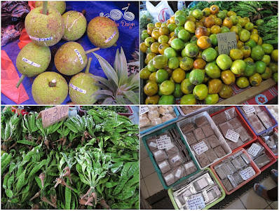 Bread fruit, petai, terung dayak and belacan at Serian Market
