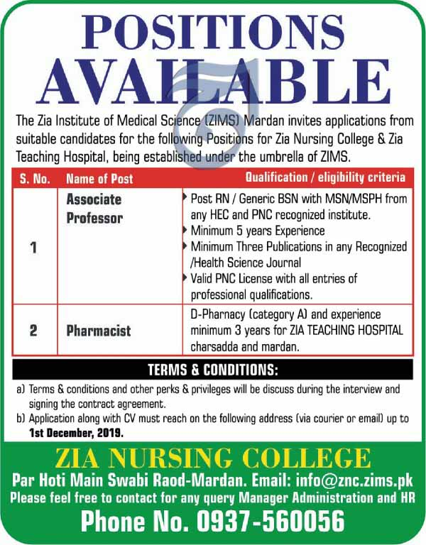 Jobs in Zia Nursing College Mardan 29 Nov 2019