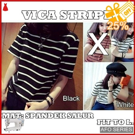 AFO045 Model Fashion Vica Stripe Modis Murah BMGShop